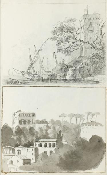 Jean Baptiste TIERCE (Rouen 1737 - 1794) Album d'esquisses d'Italie Crayon noir,...