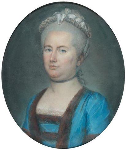 Ch. Le PRINCE (Ecole française du XVIIIème siècle) Un portrait de femme et un portrait...