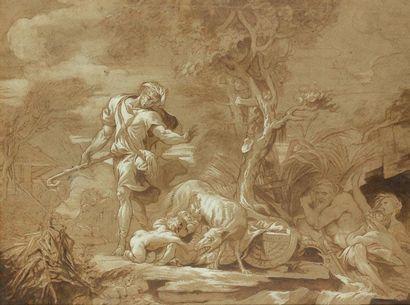 Ecole française vers 1700 Le berger Faustulus découvrant Remus et Romulus allaités...