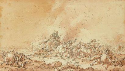 Attribué Jean-Baptiste LE PAON (Paris c. 1737 - 1785) Scène de bataille Plume et...