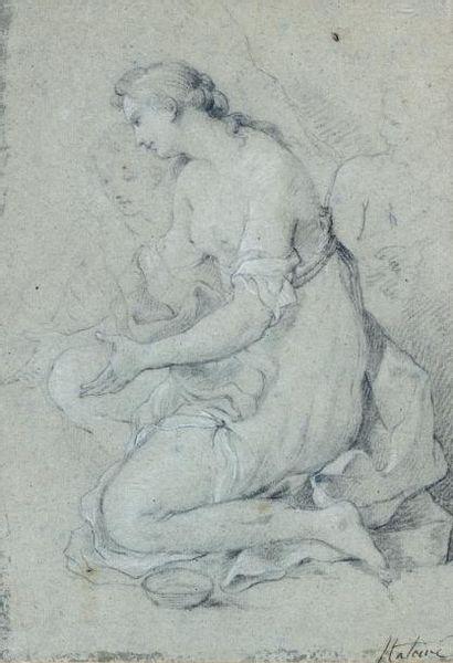 Charles NATOIRE (Nîmes 1700 - Castel Gandolfo 1777) Etude de femme à genou Crayon...