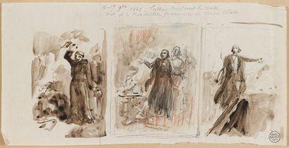 Auguste RAFFET (Paris 1804 - Gênes 1860) Lot de douze dessins Plume et encre brune,...