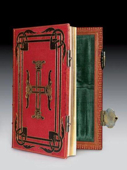 RELIURE.- Ch. MATHIEU. Livre de prières. Paris, 1858 ; pet. in-8, reliure de l'époque...