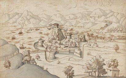 Ecole allemande du XVIème siècle Vue d'une...