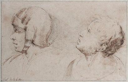 Attribué à Stefano Della BELLA (Florence 1610 - 1664) Deux études de têtes de profil...