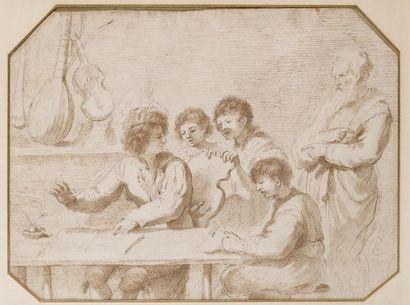 Ecole de Giovanni BARBIERI dit le GUERCHIN (Cento 1591 - Bologne 1666) Assemblée...