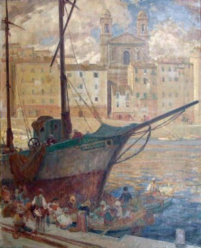 Léon Charles CANNICCIONI (Ajaccio 1879 - Courbevoie 1957) Le port de Bastia Sur...