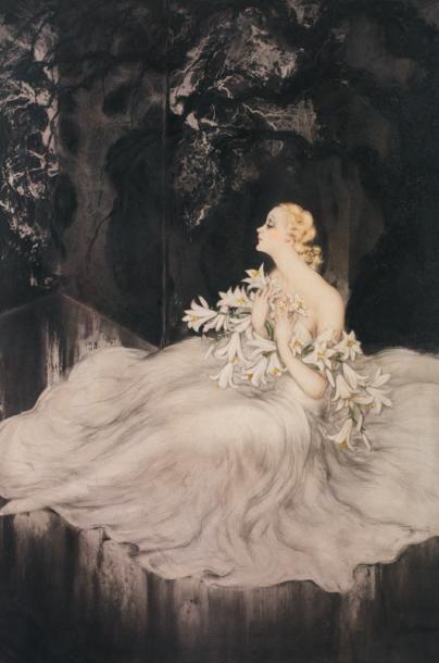 Louis ICART (1888- 1950) Les Lys (Lilies)...