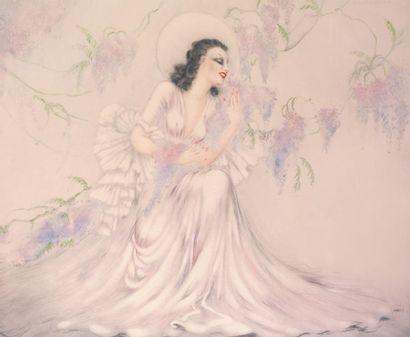 Louis ICART (1888 - 1950) La glycine (Wisteria)...