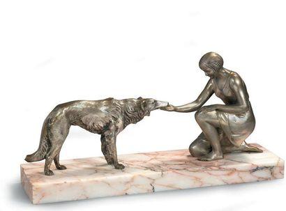 LEMO Jeune fille au barzoï Sculpture en...