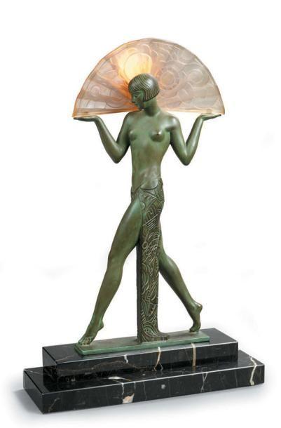 GUERBE Danseuse à l'éventail Sculpture éclairante...