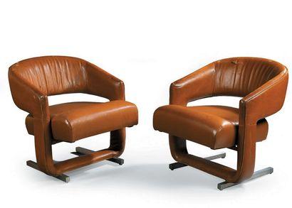 Yonel LEBOVICI (attribué à) Paire de fauteuils...