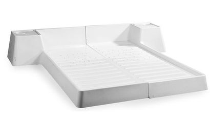 Marc HELD Lit double en deux pièces avec table de chevet intégrée GRP blanc 38 x...