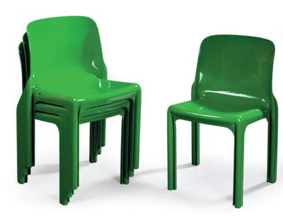 Vico MAGISTRETTI Quatre chaises SELENE 1969...