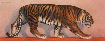 Lauron DU QUESNEL Tigre marchant Huile sur carton 44,5 x 110,5 cm Signé en haut...