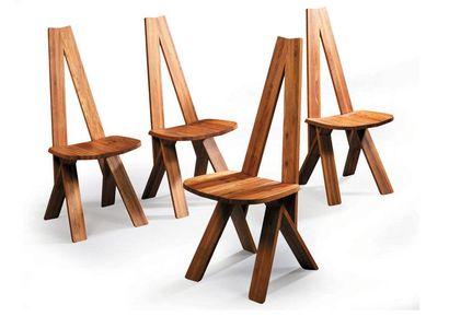 Pierre CHAPO Suite de quatre chaises en...