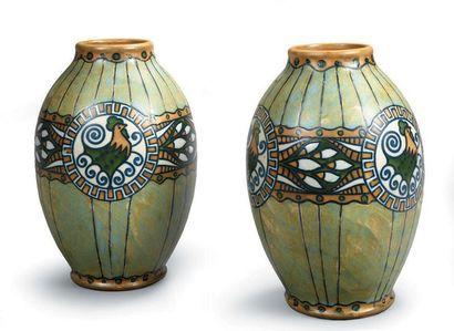 KERAMIS (Belgique) Paire de vases en grès...