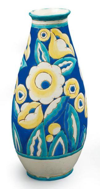 KERAMIS (Belgique) Vase piriforme en céramique...