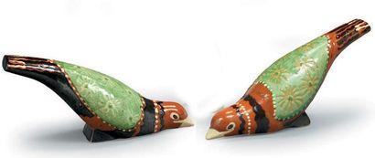PRIMAVERA Deux pigeons en céramique ornés...