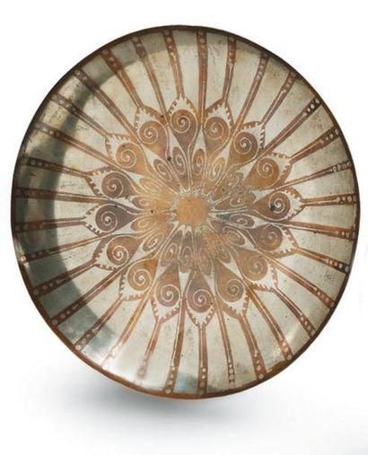 Fernand GRANGE Plat circulaire en dinanderie...
