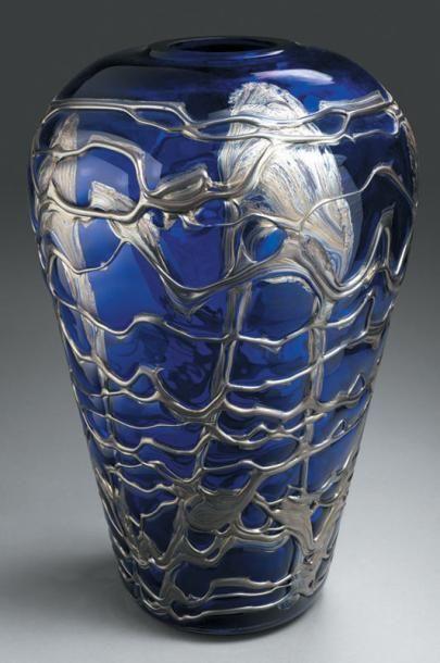 BIOT (Verrerie de) Important vase en verre...
