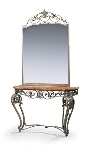 Paul KISS Console et son miroir en fer forgé...