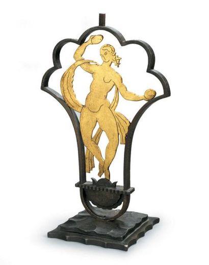 Edgar BRANDT (1880 - 1960) Lampe de table...