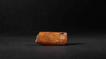 Amulette de chasse présentant un renne gravé...