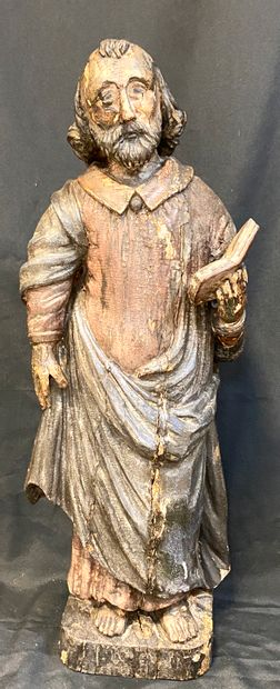 Monoxyl Wood Sculpture  Depicting a bearded...