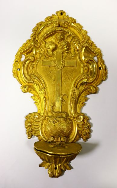 Gilded bronze stoup with richly engraved...