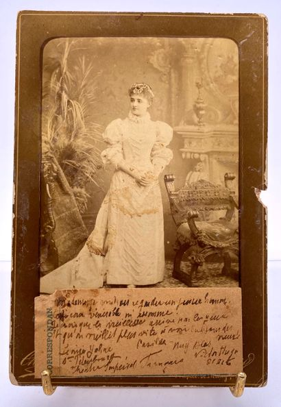 Photograph showing a singer or actress in...