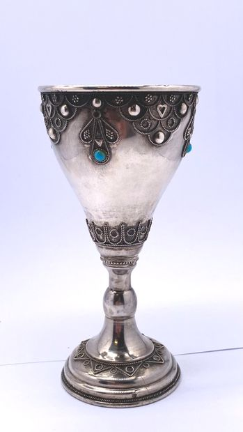 Kiddush glass in silvery metal with applied...