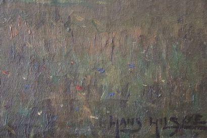 Hans HILSØE (1871-1942)  Vue de l'île de Knabstrup au Danemark  Huile sur toile...