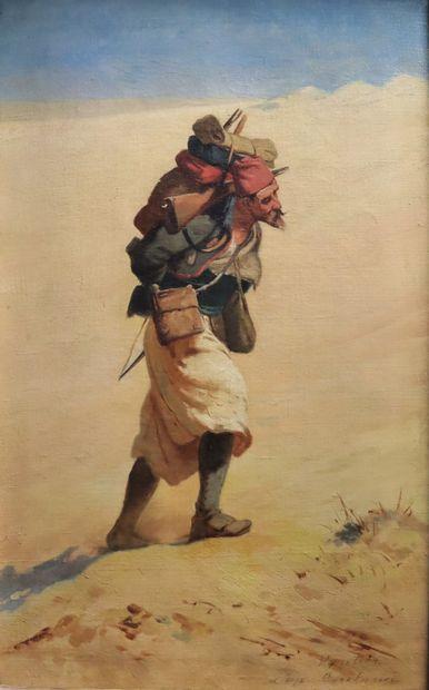 Adolphe Victorin VAUTIER, Ecole française fin XIXe  La marche dans le désert, le...