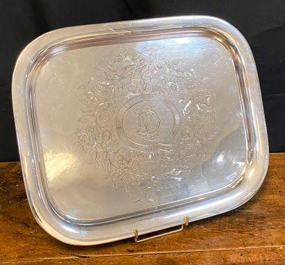 Armand FRESNAIS (1877-1927)  Tray in silver...