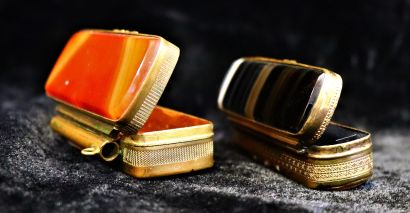Two tassel boxes, one with an agate lid and...