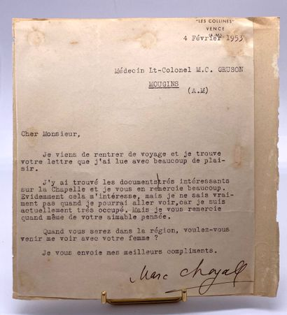 - CHAGALL, Marc. Signed typed letter addressed...