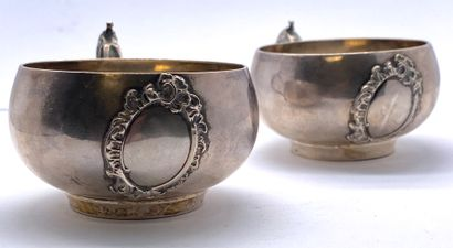 Pair of small silver bowls, broad bellies...