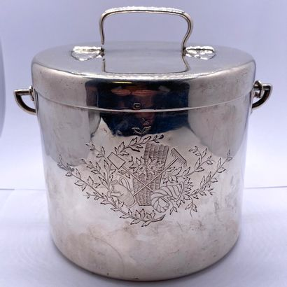 Plain silver covered pot with rustic decoration...