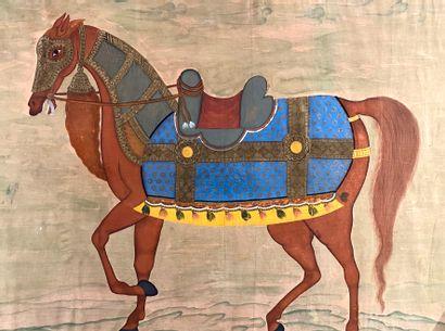 Cheval d'orient caparaçonné  Peinture sur soie  Ecole du XX ème  155 x 182 cm  ...