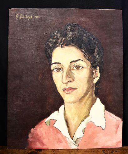 Gisèle BELLEUD (1921-2019)  Autoportrait  Huile sur panneau de bois  Signé et daté...