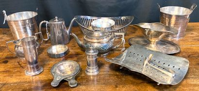 Set of silver metal service silverware with...