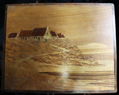 Emile GALLE (1846-1904)  4 tables gigognes ornées de paysages bretons en hêtre marqueté...