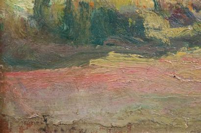 Attribué à Maximilien LUCE (1858-1941)  Rivière dans le vallon  Huile sur panneau...