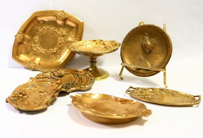Set of six Art Nouveau style gilt bronze...