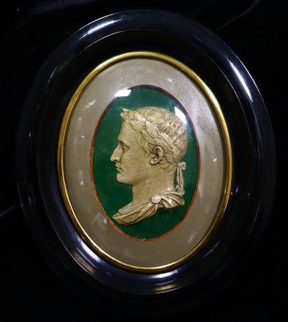 Medallion depicting Napoleon I as Roman Emperor....