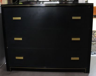 Pierre VANDEL (1939)  Blackened wood, brass chest of drawers with black glass top;...