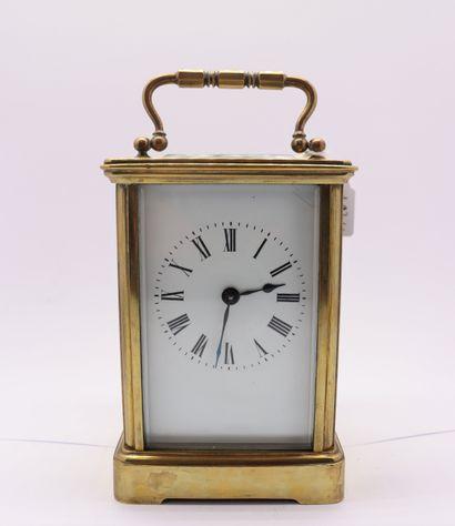 Brass officer's clock, cut-glass windows,...