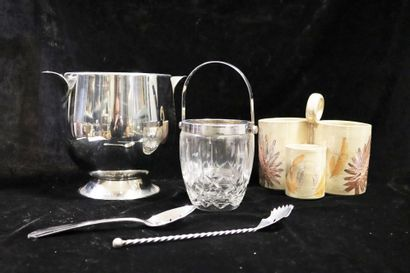 Miscellaneous set including a stainless steel champagne bucket, a three-compartment...