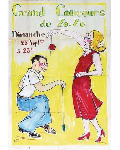 JPV Gouache signée / Vintage signed Gouache T.B.E. A -  120 x 80 cm